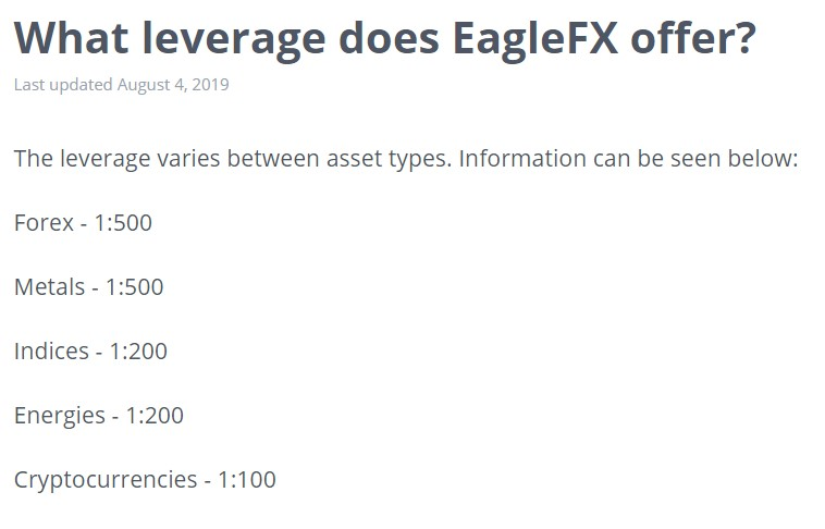 EagleFX minimum deposit