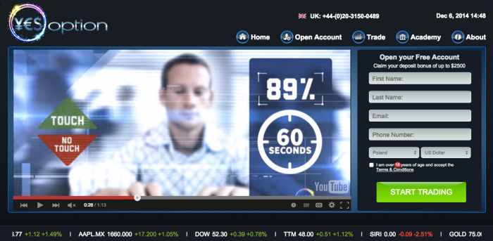 YesOption Binary Options Broker