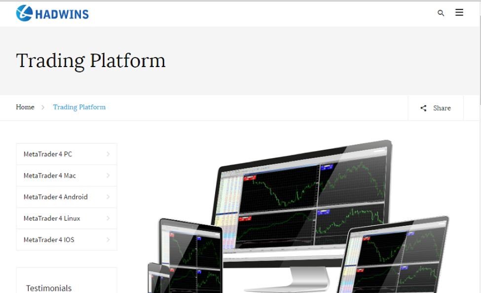 Hadwins Capital's Trading Platform