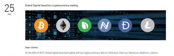Grand Capital Cryptocurrency trading