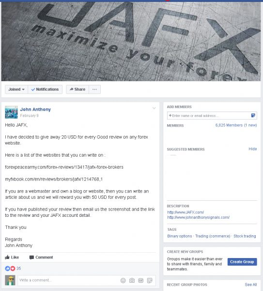 JAFX fake reviews
